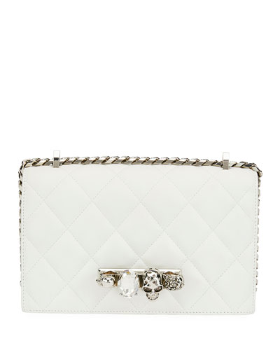 Jeweled Knuckle Flap Shoulder Bag