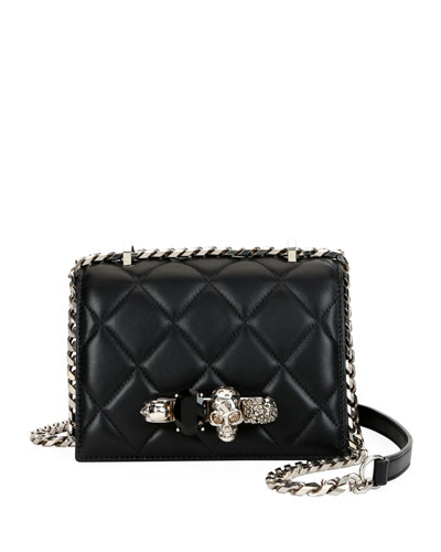 Alexander Mcqueen Small Quilted Jeweled Knuckle Flap Shoulder Bag