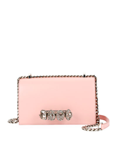 Jeweled Knuckle Flap Box Shoulder Bag