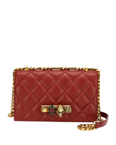 Quilted Jeweled Knuckle Flap Shoulder Bag