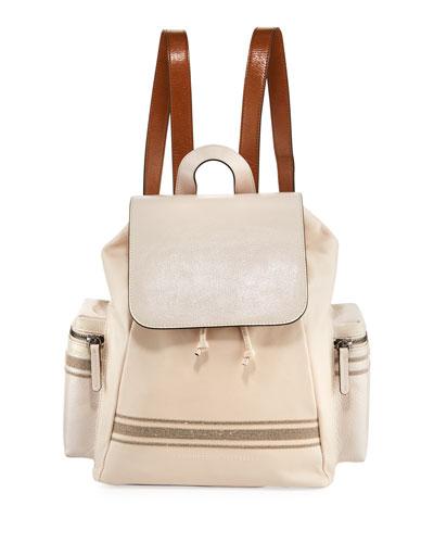 Multi-Pocket Leather Backpack