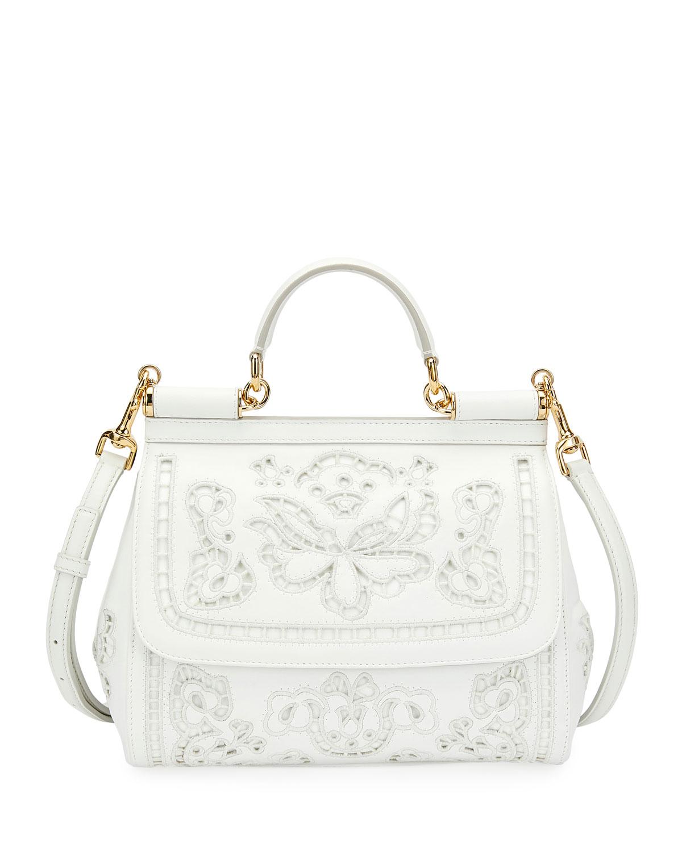 4867472ec297 Dolce   Gabbana Miss Sicily Lambskin Lace Satchel Bag