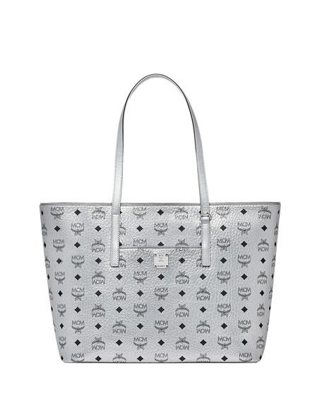 Anya Medium Metallic Visetos Zip Shopper Tote Bag in Silver