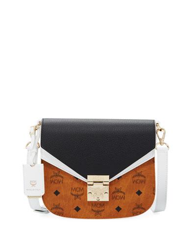 Patricia Small Visetos & Leather Block Shoulder Bag