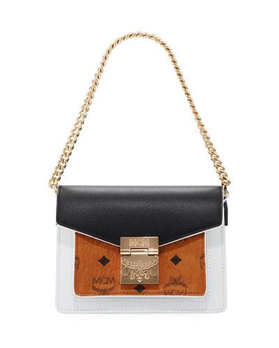 Patricia Mini Visetos & Leather Block Crossbody Bag
