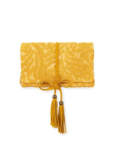 Barbara Tassel Fabric Clutch Bag  Yellow