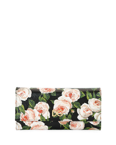 St. Dauphine Rose-Print Leather Continental Wallet