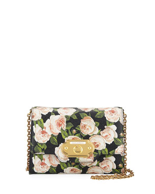 Dolce   Gabbana Welcome St. Dauphine Rose-Print Wallet on a Chain 7e3a7323e471b