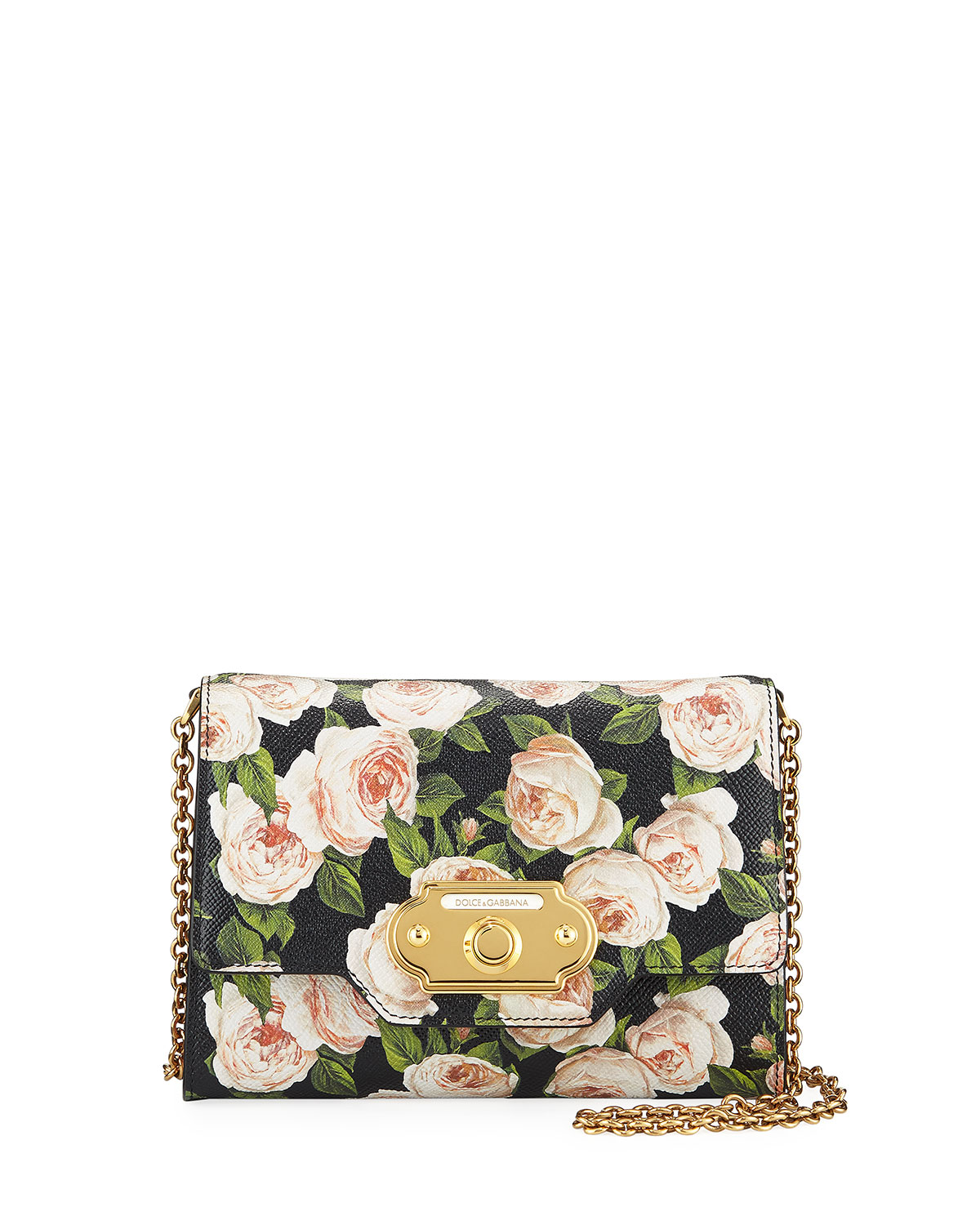 bd70b501a921 Dolce   Gabbana Welcome St. Dauphine Rose-Print Wallet on a Chain ...