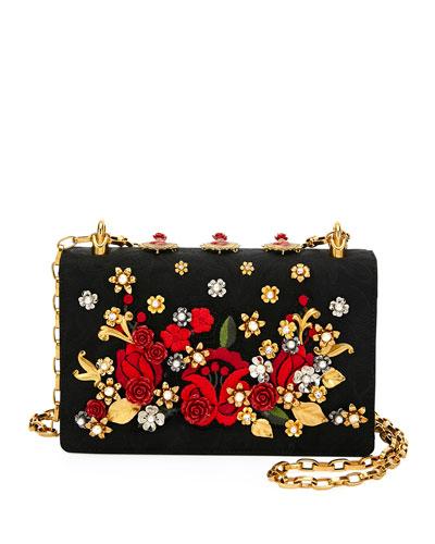 Roses Brocade and Leather Shoulder Bag