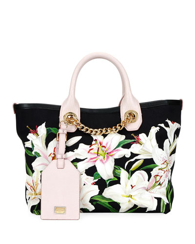 Flower Canvas and Leather Shopper Tote Bag with Chain