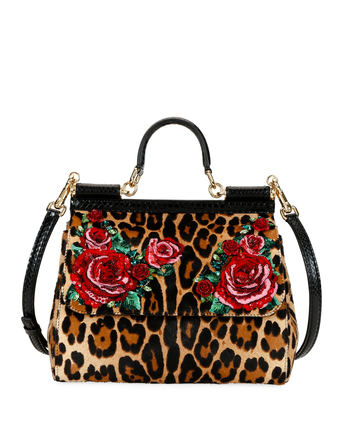497486bd81 Dolce   Gabbana Sicily Medium Leopard-Print Shoulder Bag