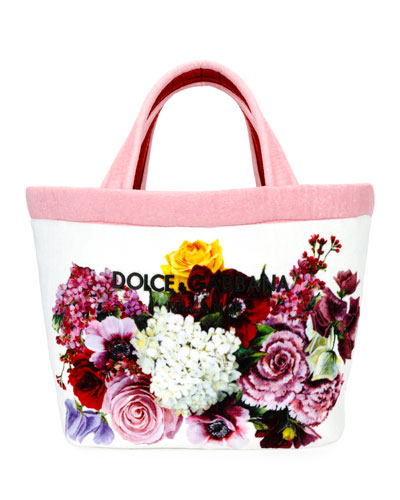 Flower-Print Terrycloth Shopper Tote Bag