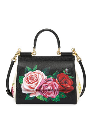3913def4cda4 Dolce   Gabbana Sicily St. Dauphine Small Roses Shoulder Bag