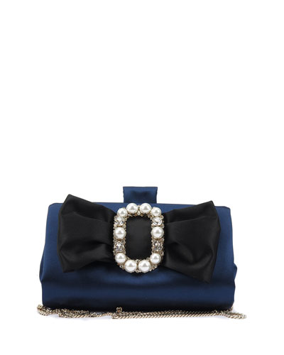 Pearly Bow Buckle Soft Clutch Bag
