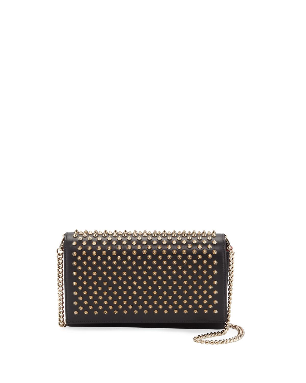 Paloma Fold Over Spike Clutch Bag Black
