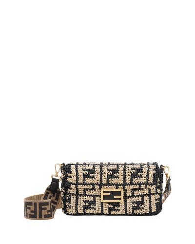 Baguette FF Raffia Shoulder Bag