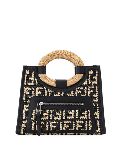 Runaway Small FF Raffia Shop Tote Bag