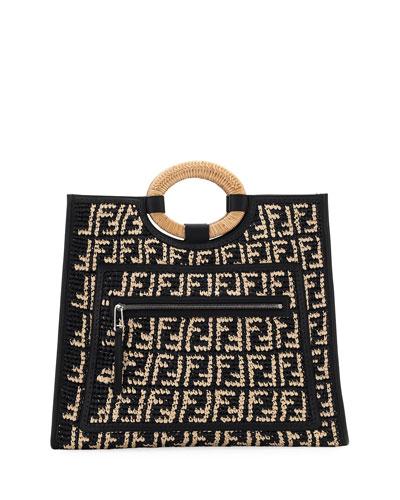 Runaway Large FF Raffia Shopping Tote Bag