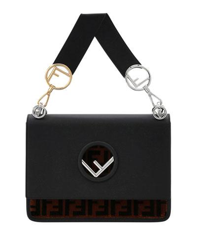 Kan I Logo Seal Leather & FF Velvet Shoulder Bag