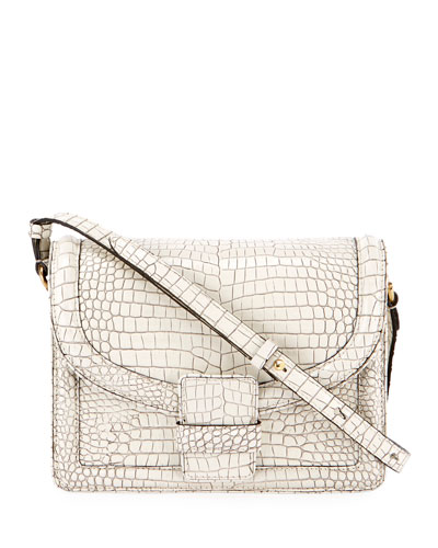 Crocodile-Embossed Shoulder Bag