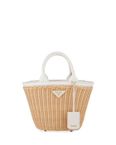 Midollino Small Wicker & Canvas Tote Bag