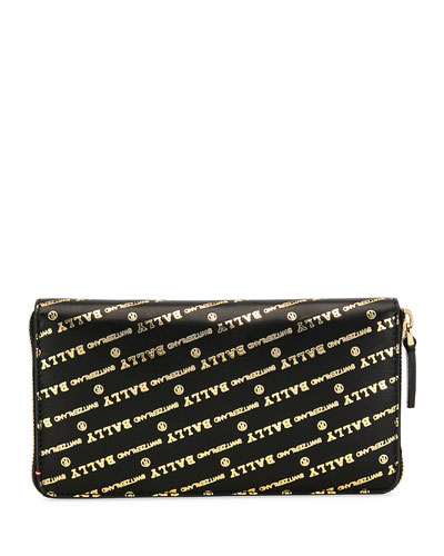 Men's Balen Logo-Print Zip-Around Wallet