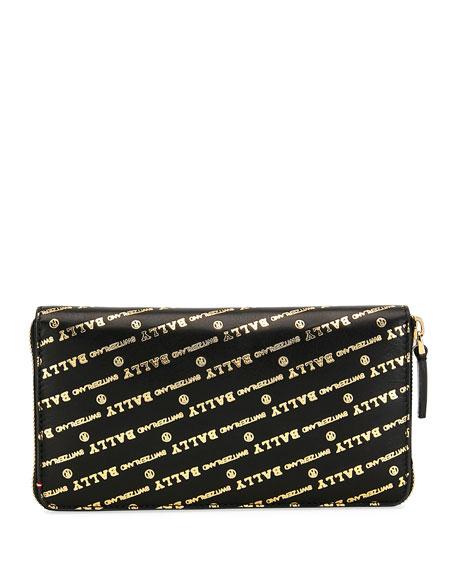 Men'S Balen Logo-Print Zip-Around Wallet in Black/Gold
