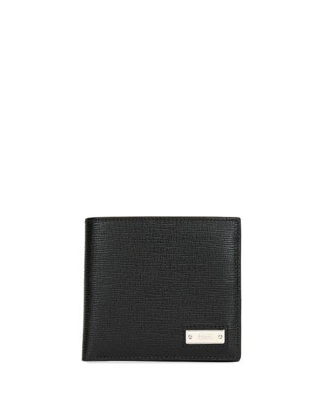 BALLY Men'S Beisel Leather Bi-Fold Wallet in Black