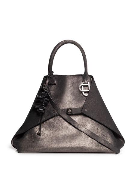 Akris Ai Magnets Medium Leather Top-Handle Tote Bag
