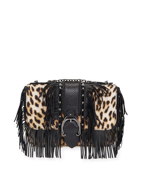 Longchamp Amazone Fringed Leopard Crossbody Bag
