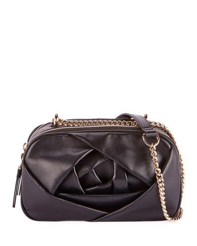 Rose Leather Crossbody Camera Bag