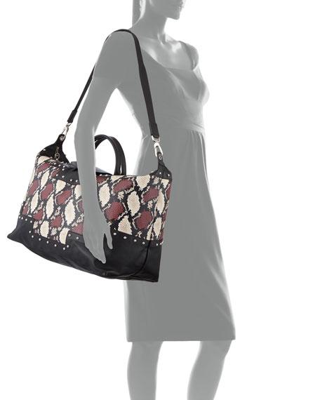 Longchamp Le Pliage XL Python-Print Satchel Bag
