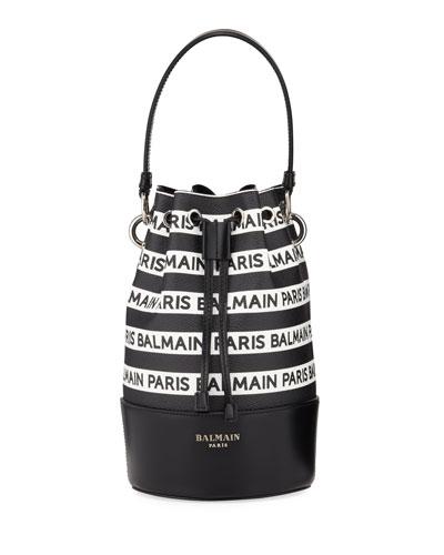 Polygon Logo Stripe Leather Bucket Bag