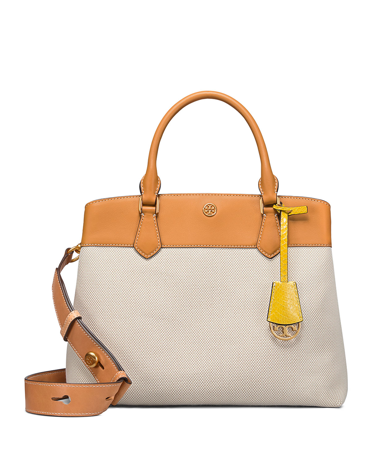 Tory BurchRobinson Canvas Leather 3-Compartment Tote Bag.  458.00.  100 Off  with your ... c2fbf9f84fa68