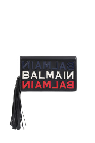 Balmain Leather Logo Tasseled Clutch Bag