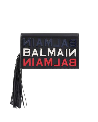 Leather Logo Tasseled Clutch Bag