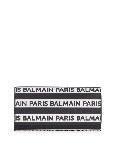 Logo Stripe Leather Wallet On Chain