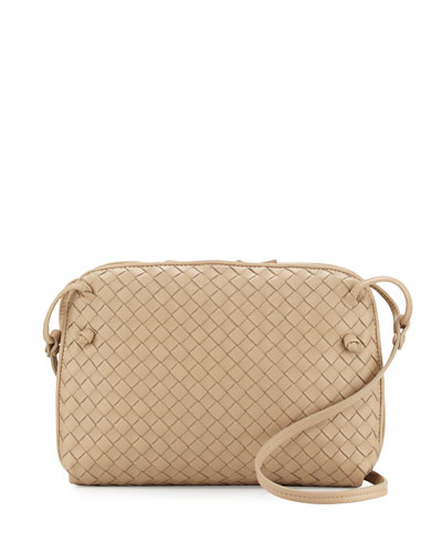 Intrecciato Double-Compartment Pillow Bag, Light Taupe