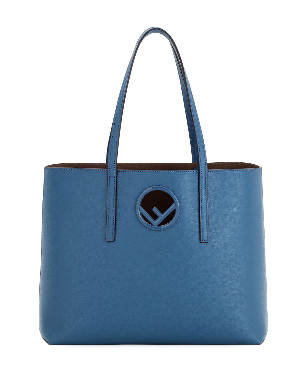 f75acf9594 Fendi F Logo Calf Leather Shopping Tote Bag | Neiman Marcus