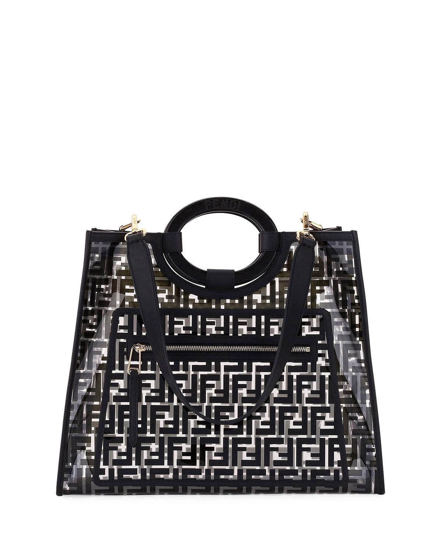 7029f0a6d986 Fendi Runaway Medium FF PVC Shopper Tote Bag