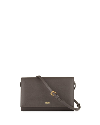 Saffiano Leather Wallet on Crossbody Strap