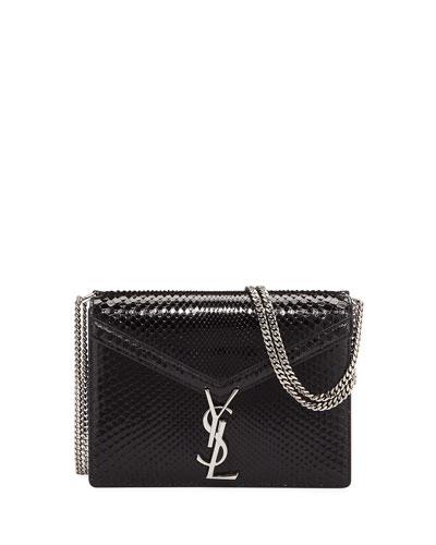 Cassandra Medium Monogram YSL Python V-Flap Crossbody Bag