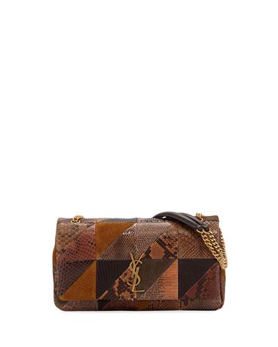 Jamie Medium YSL Python Patchwork Shoulder Bag