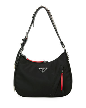 Prada Prada Black Nylon Shoulder Bag w  Studding