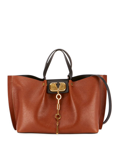 Go Logo Escape Medium Leather Tote Bag