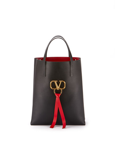 Vee Ring Leather Tote Bag