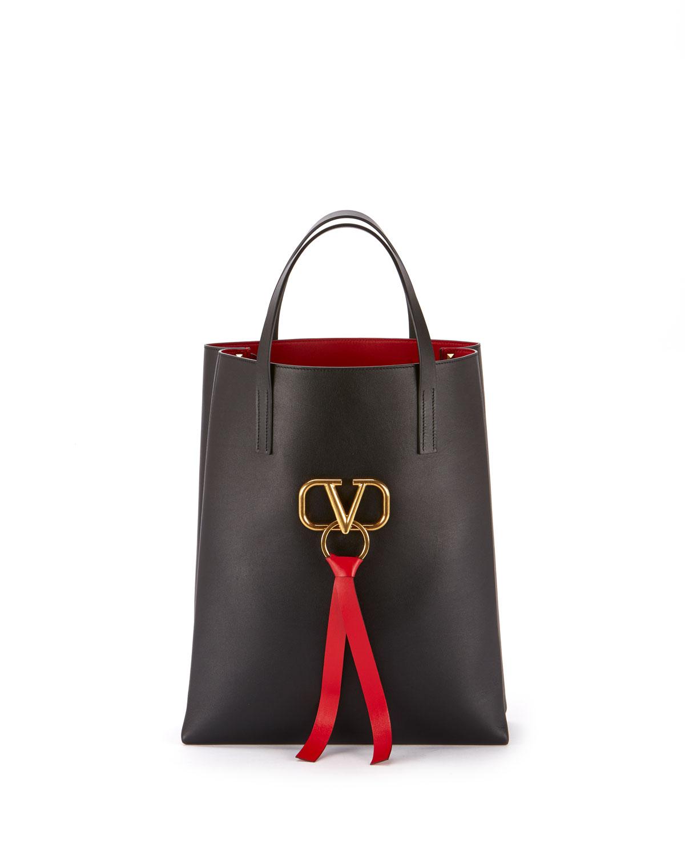7b9ca62e84e3a Valentino Garavani Vee Ring Leather Tote Bag