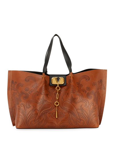 Go Logo Escape Embossed Tote Bag  Brown