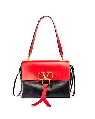 Vee Ring Medium Colorblock Leather Shoulder Bag